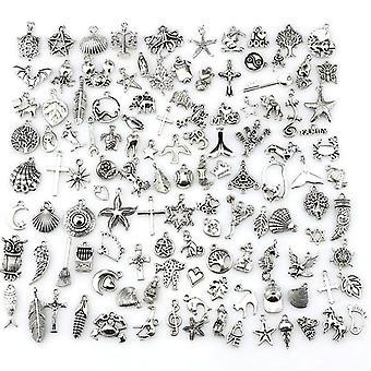 120pcs Mixed Antique Silver European Bracelets Charm Pendants