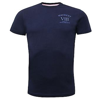 Hackett Mens HRR Logo Tee Graphic Casual T-Shirt Navy HM500247 595