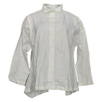 Atitudes de Renee Women''s Button Front Wrinkle Resiste Camisa Branca A367740
