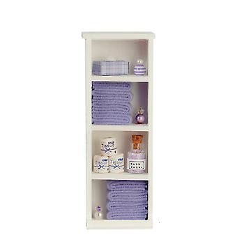 Puppen Haus schmale Regal Einheit Lila Handtücher & Zubehör 1:12 Badezimmermöbel