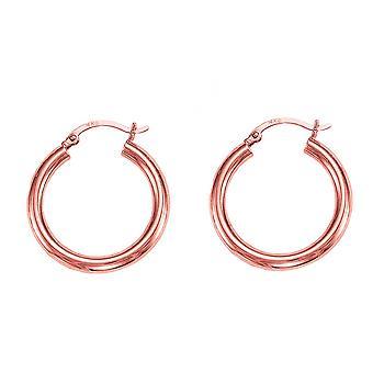 14k Rose Gold Polished Round Tube Hoop Earrings, Diameter 25mm