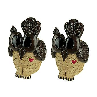 Set of 2 Adorable 9 Inch Tall Decorative Owl Planters
