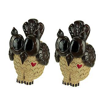 Uppsättning 2 bedårande 9 tums höga dekorativa Owl planteringsmaskiner