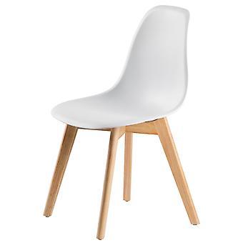 Spisestue køkkenstole sæt - 4 stole - hvid - træ og plast