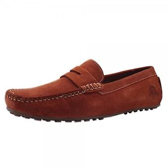 Chatham Parker Driving Moccasins In Rust Suede