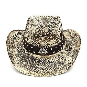 Fashion Women Men Western Cowboy Hat Handmade Weave Straw Sombrero Hombre