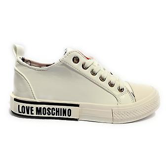 Zapatos de mujer amor zapatilla Moschino en Naplak Pu negro / blanco D21mo29