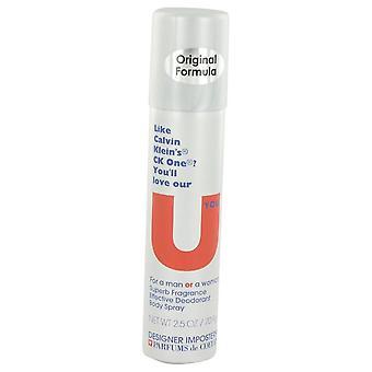 Impostores diseñador U usted cuerpo desodorante Spray (Unisex) de Parfums De Coeur 2.5 oz cuerpo desodorante Spray