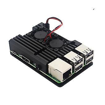 Pi 4 Modelo B Dual Fans Cnc Alumínio Case Metal 4 Color Armor Shell com calor