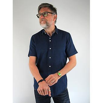 Navy Marl Short-Sleeved Shirt