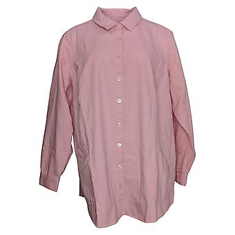 Joan Rivers Women's Top Plus Denim Shirt Back Button Details Pink A350289