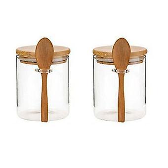 Skandynawski styl 2-częściowy zestaw słoików do przechowywania żywności z ekologiczną bambusową pokrywką i łyżką