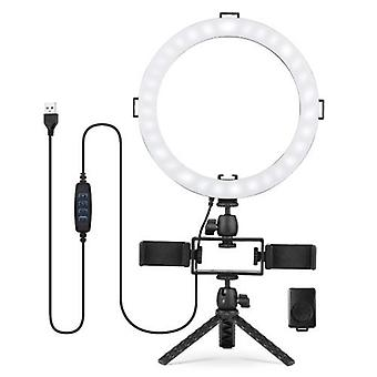 10inch/26cm LED Ring Light Kit 3 Modes d'éclairage 3000K-6500K Dimmable USB Powered
