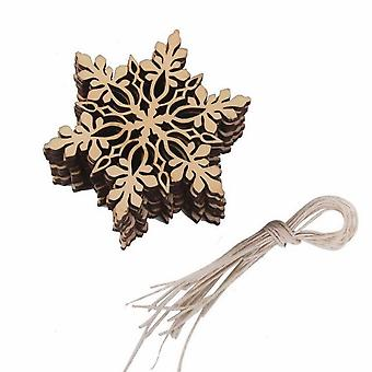 10pcs Wooden Craft Green Wooden Laser Engraving Snowflake Pendant Christmas Wood Chip With Hemp Rope