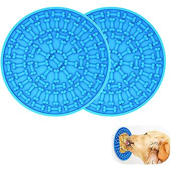 2 Pcs Dog Lick Pad, Bath Grooming Slow Feeders Mat With Super Suction