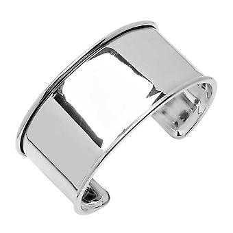 Elegant Elements, Cuff Bracelet Base, Channel For Delica Seed Beads 30x66mm, 1 Bracelet, Silver Plt.