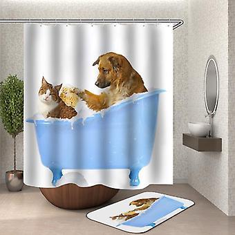 Rideau mignon de douche d'heure de bain d'animaux familiers