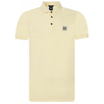 هوغو بوس الركاب قصيرة الأكمام القطن الأصفر بولو قميص