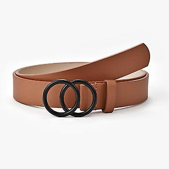 Double Ring Pu Leather Metal Buckle Heart Pin Belts For Ladies Women