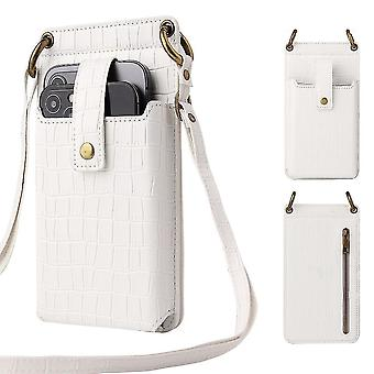 Valkoinen naiset krokotiili kuvio puhelin kukkaro kortin haltija lompakko crossbody laukku cai1074