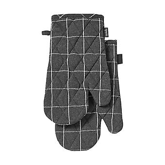 Ladelle Eco Check Set of 2 Oven Mitts, Charcoal