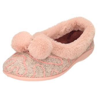 JWF Ballerina Slippers House Shoe Pom Pom Pink