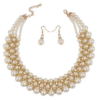 Women Necklace Set Golden Artificial Pearl Woven Clavicle Chain Multilayered Pendant Earrings For