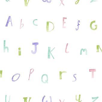 Holden Décor Faire croire Alphabet Crème Heather Papier peint 12562