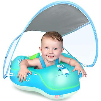 Baby Simning Uppblåsbar Ring Nyaste med solskydd Baldakin, lägg till Svans ingen flip over för ålder av 3-36 månader