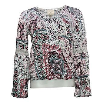 Haute Hippie Tribe Women's Top Malia Printed Knit Surplice Pink A370014