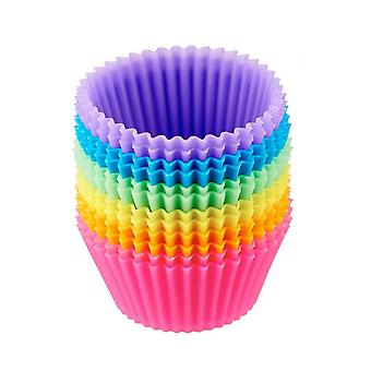 ケーキ型、18高品質の再利用可能な形状のパックラウンドシリコーンベーキングカップ複数の色