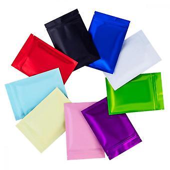 Foil Packaging Bags, 90pcs Colorful Self Sealing Vacuum Aluminum Foil For Zip Heat Seal Food Lock Storage Packaging Pack Pouches Reusable Plastic Zipp