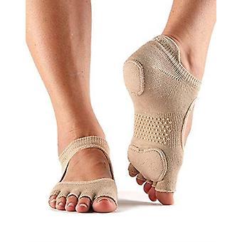 ToeSox Half Toe Prima Bellarina Yoga Pilates Dance Socks Fitted Heel Pad - Nude