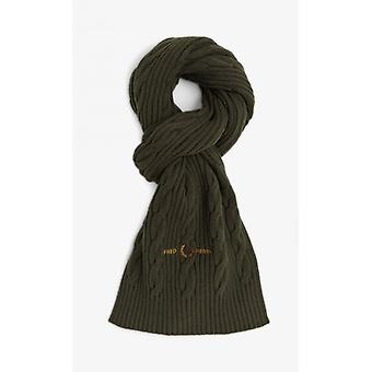 Fred Perry Cable Branded Scarf (Hunting Green)