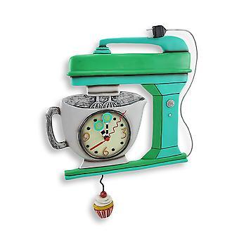 艾伦设计绿色复古厨房混合器挂钟与杯形蛋糕钟摆