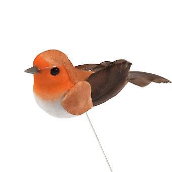 Mini 2.5 cm fjäder Robin Wired Bird julgran dekoration