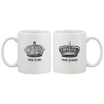 Король и королева пара кружки - его и ее соответствия кружка кофе Кубок Set - идеальный день Валентина подарок для пары