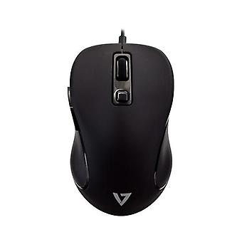 V7 MU300, Ambidiestro, USB Tipo-A, 1600 DPI, Negro