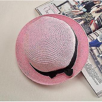 Damen Panama Sommer Strandmütze (56-58cm)(Pink 2)