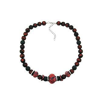 Necklace Dark Red/ Black Metallic Marbled 45480 45480 45480
