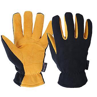 Men Women Winter Gloves Deerskin Suede Leather Palm -20f Cold Proof Work Glove, No Relevant Skills