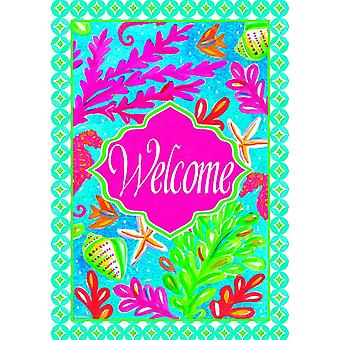Tropical Fish and Coral Coastal Welcome 12 X 18 Inch Fabric Garden Flag