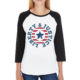 Liberty & giustizia Womens nero 3/4 Sleeve Baseball manica 3/4