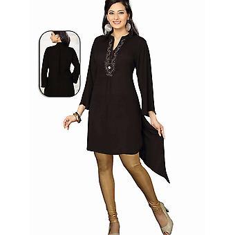 Schwarz 3/4 Ärmeln Designer Kurti / Tunika (Indien) mit Perlen Ausschnitt