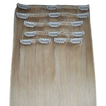 #60/22 - Highlights Clip-in Hair Extensions - vollen Kopf - natürliche Blondine mit Barbie Blonde