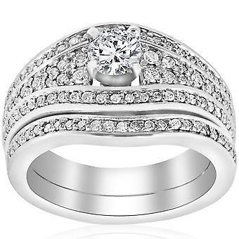1 1 / 10ct Diamant Pavé breites Engagement Trauring Set 14K Weißgold
