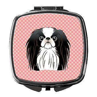 Carolines Treasures  BB1230SCM Checkerboard Pink Japanese Chin Compact Mirror