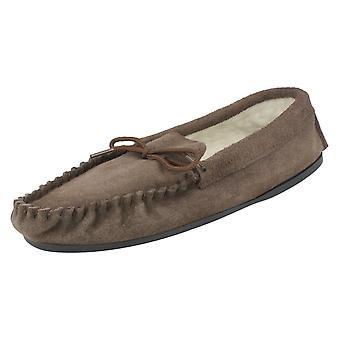 Mens Vamp Moccasin Fleece Lined Slippers