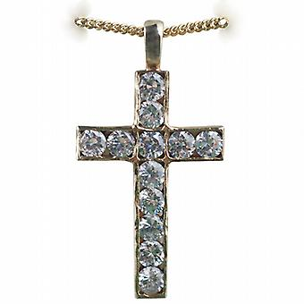 9ct Gold 34x21mm Apostle's Cross set with 12 Cubic Zirconia with a curb Chain 18 inches