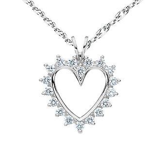 1 / 2ct Diamond 14K Solid Gold 1 tum hjärta hängsmycke halsband
